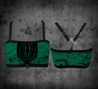 Bandeau Top – Circuitboard | seegrün
