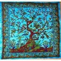 Wandtuch   Überwurf  - Tree of Life batik blue
