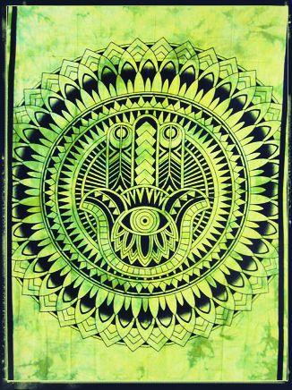 Wandtuch | Überwurf - Hamsas Hand - grün