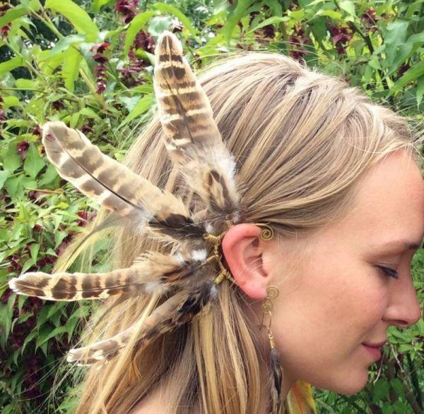 Ear Cuff - Feder - Ohrschmuck - Fasan