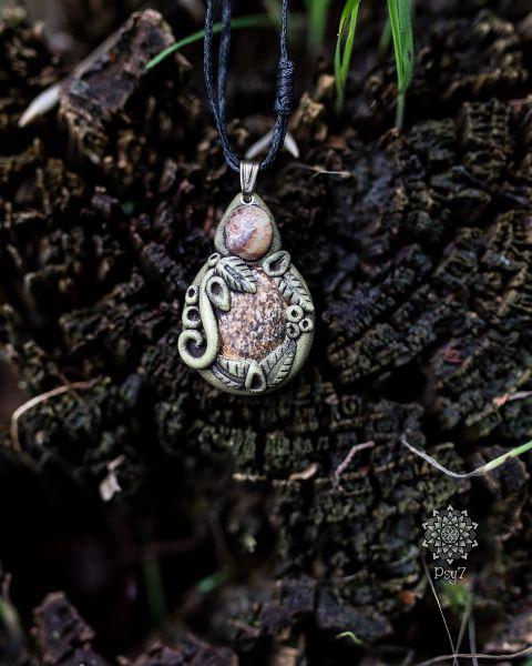 Amulett | Halskette - Fimo - Landschaftsjaspis & Schneckenhaus #1
