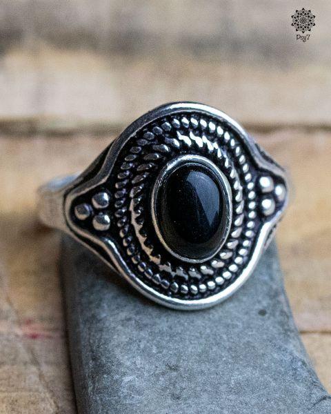 Ring Einar silber | Obsidian