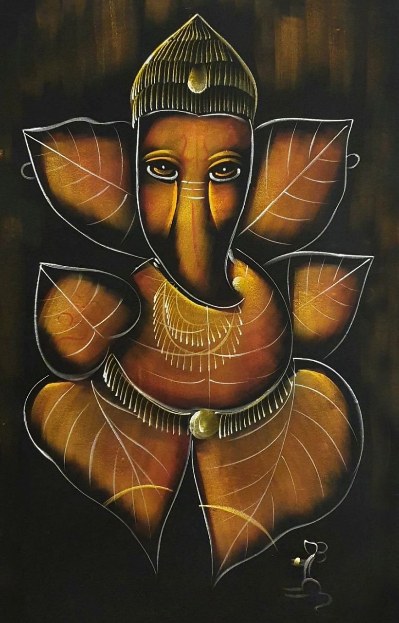Wandbild handgemalt | Ganesha
