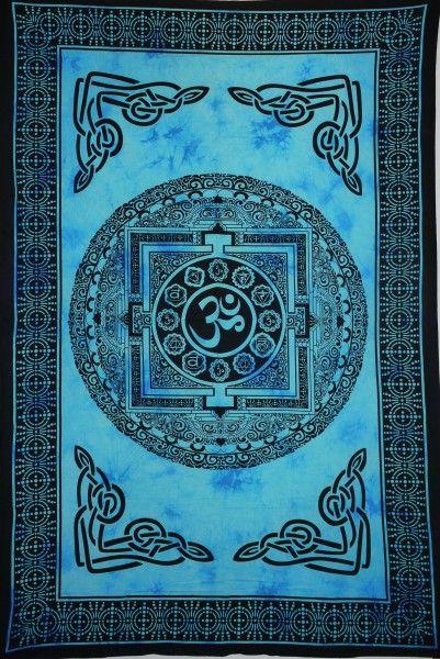 Wandtuch | Überwurf - Blue Yantra OM