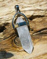 Anhänger Hexagon | Pendel - Bergkristall | mit Halsband