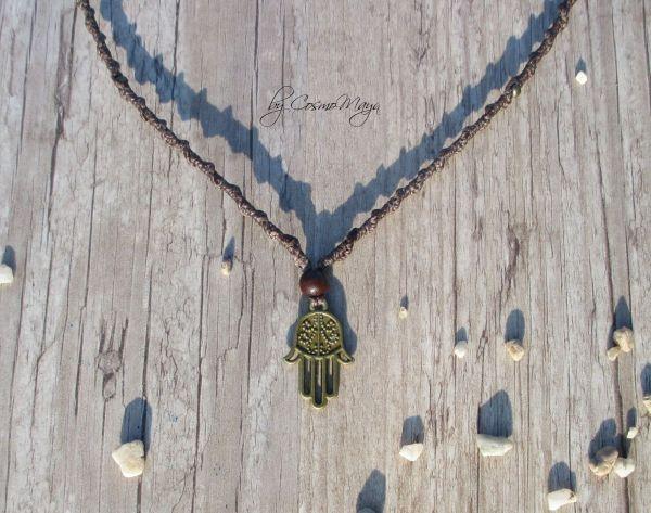 Makramee Kette - Hamsa's Hand | bronze