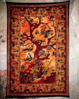 Wandtuch | Dekotuch - Baum des Lebens - orange