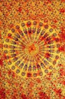 Wandtuch - Bettüberwurf - Batik Mandala - orange