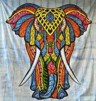 Wandtuch   Bettüberwurf Kunjara - Elefant bunt