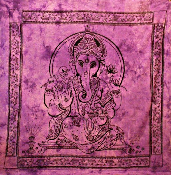 Wandtuch   Bettüberwurf purple Ganesha