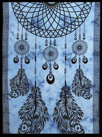 Wandtuch | Bettüberwurf - Traumfänger blau
