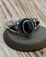 Ring Ferun silber | Obsidian