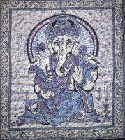 Wandtuch Ganesha | Batik Blau