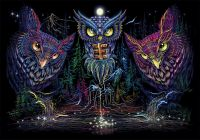 Wandtuch | Backdrop Owl Horizon - uv-aktiv