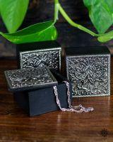 Kästchen - Vintage Dose | Lotus silber antik