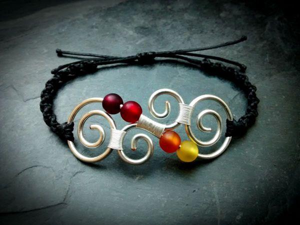 Koru Messing Armband Makramee | Silber | Rot | Orange | Gelb
