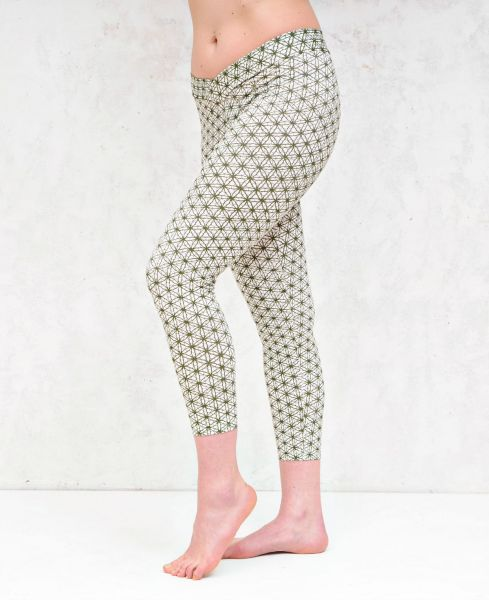 Leggings | Yoga Pants - Flower Of Life | weiss - grün