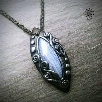 Amulett | Halskette - blauer Chalzedon