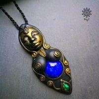 Amulett | Halskette - Göttin Lapislazuli - Malachit