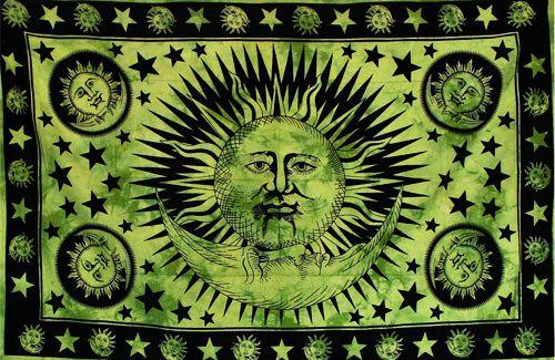 Wandtuch | Überwurf - The SUN & The MOON - green