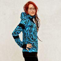 Langjacke | Mantel - Morgana Polynesian türkis-blau