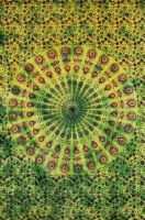 Wandtuch - Bettüberwurf - Batik Mandala - grün