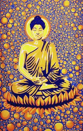 Wandtuch | Überwurf - Bubble Buddha blau