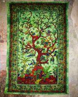 Wandtuch | Dekotuch - Baum des Lebens - grün