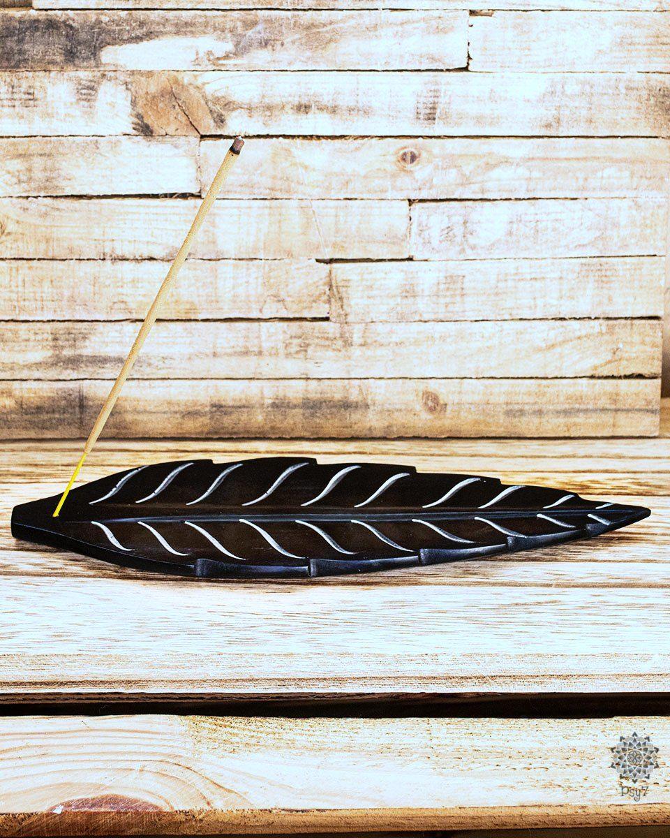 Räucherstäbchenhalter | schwarzer Speckstein - Blatt #2