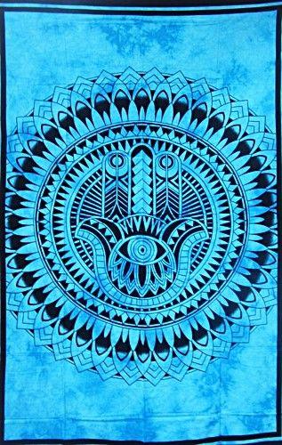 Wandtuch | Überwurf - Hamsas Hand - blau