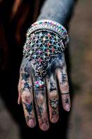 Armreif | Handkette - Kristallglas