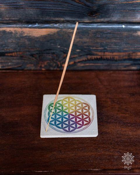 Räucherstäbchenhalter Sandstein | Blume des Lebens #1