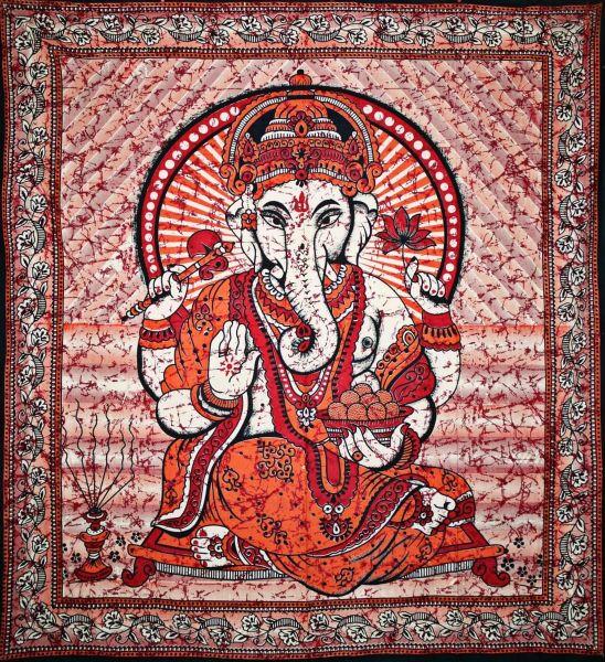 Wandtuch Ganesha | Batik Orange