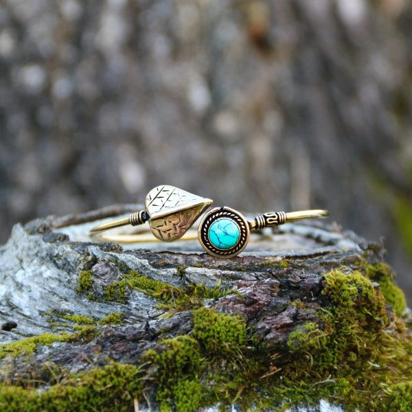 Armreif | Messing | Leaf Turquoise
