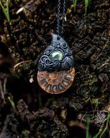 Fimo Halskette mit Ammonit & Zitronencalcit