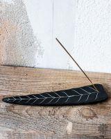 Räucherstäbchenhalter | schwarzer Speckstein - Blatt #1