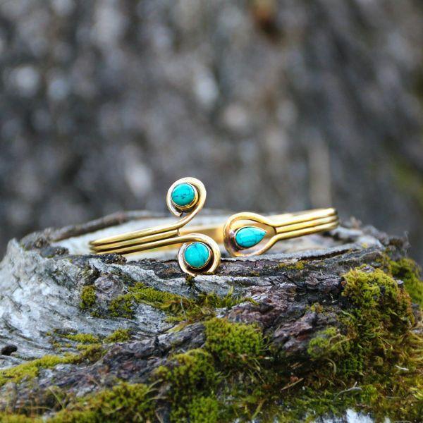 Armreif | Messing | Tri - Turquoise