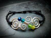 Koru Messing Armband Makramee | Silber | Blau | Grün