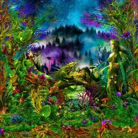 Wandtuch | Backdrop Elven Forest - uv-aktiv