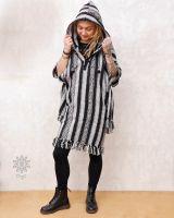 Nepal Long - Poncho | schwarz - weiss
