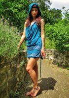 Kapuzenkleid - Turquoise