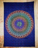 Wandtuch | Dekotuch - Mandala blau-grün