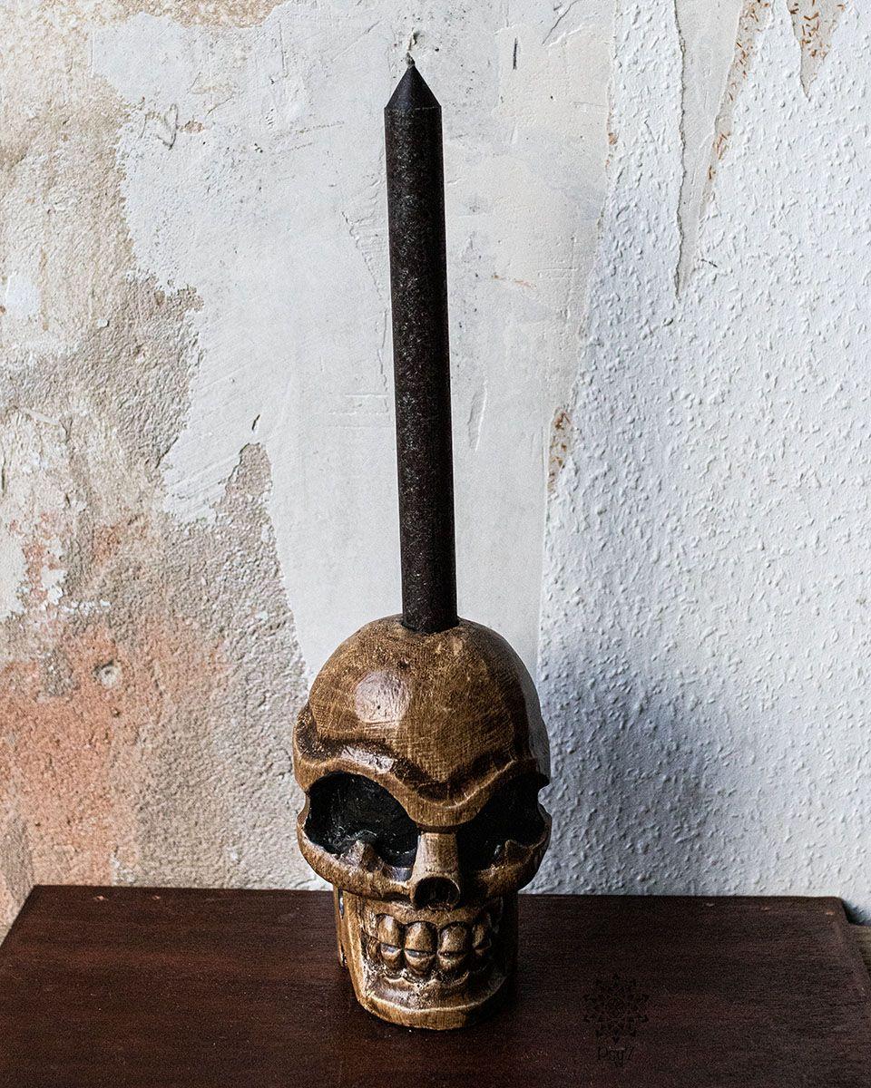 Kerzenhalter | Schädel - Balsaholz