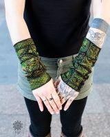 Pulswärmer | Paisley | schwarz - grün