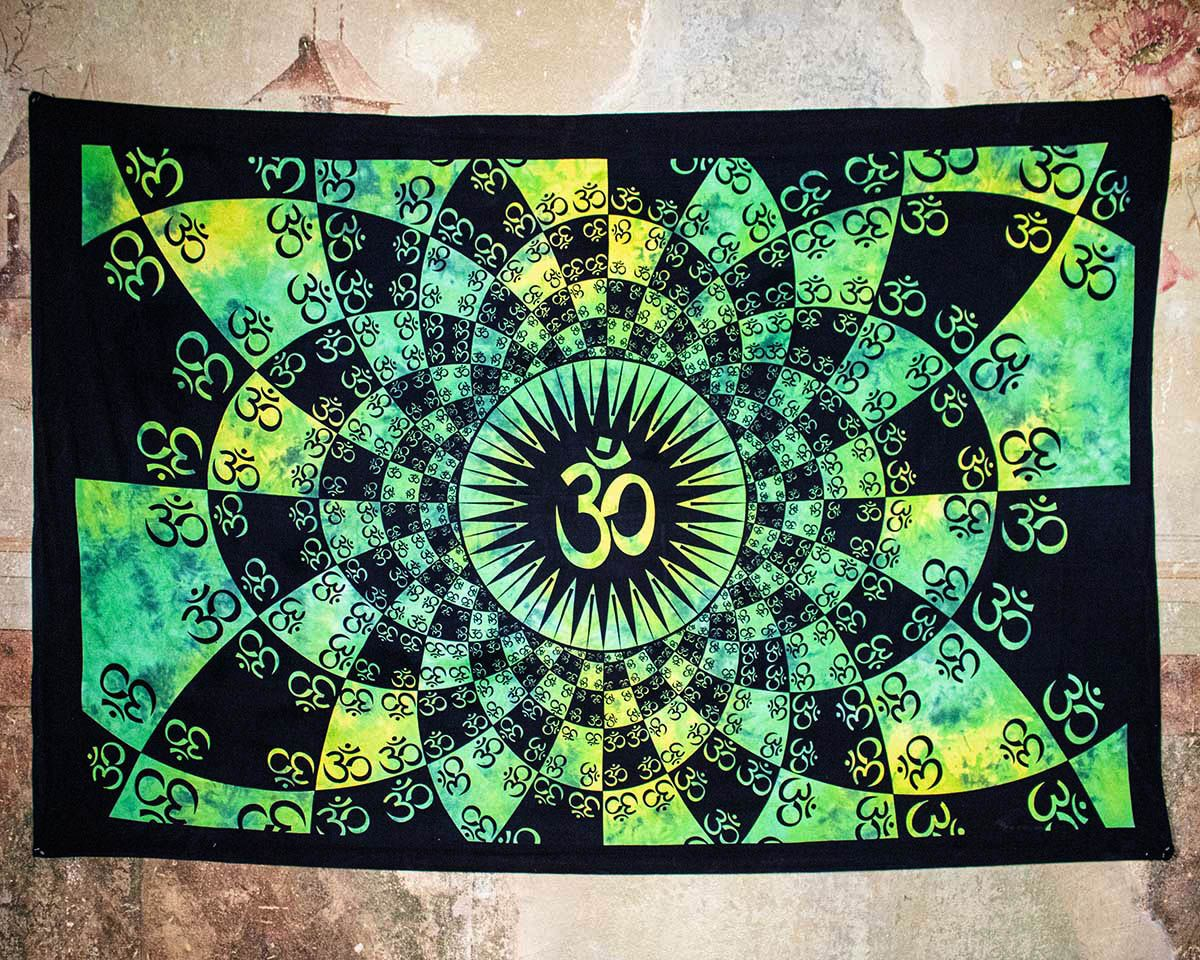 Wandtuch | Dekotuch - Batik OM | grün-gelb
