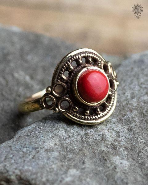 Ring Clivia | Koralle-Imitat