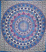 Wandtuch | Überwurf - Elephant Mandala | blau - pink