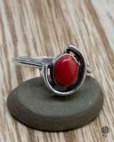 Ring Rose silber | Koralle-Imitat