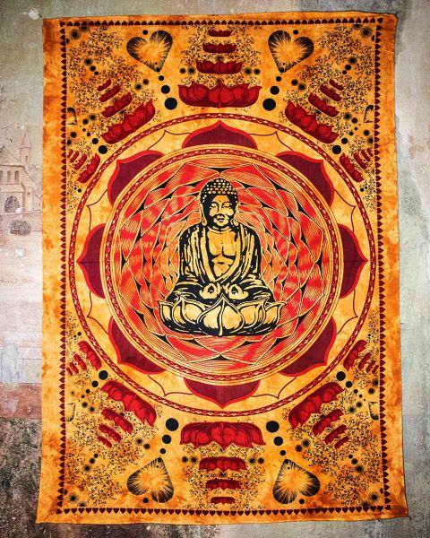 Wandtuch | Dekotuch - Lovely Buddha orange