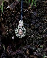 Amulett | Halskette - Fimo - Landschaftsjaspis & Schneckenhaus